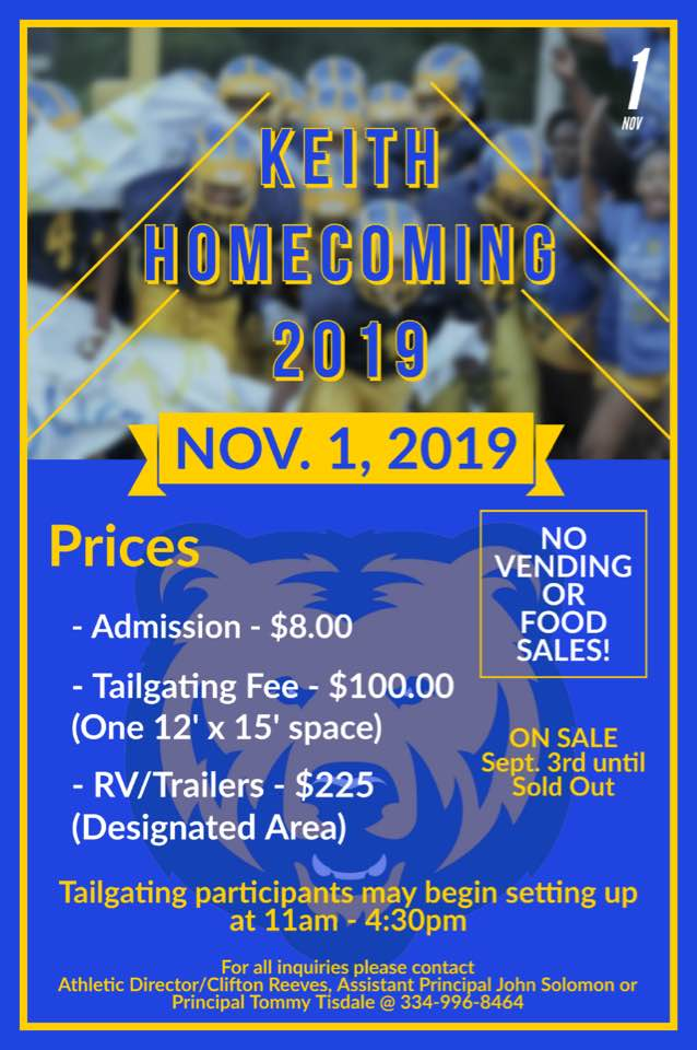 Keith Homecoming Tailgating Flyer
